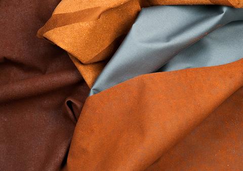 tissus double face en satin de coton floqué de poudre de cuir